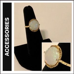 Oval Solitaire Opal  Six-Prong Gold Cocktail Ring
